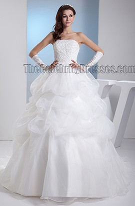 Ball Gown Strapless Chapel Train Embroidered Lace Up Wedding Dress