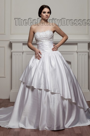 Ball Gown Strapless Embroidered Chapel Train Wedding Dress With Beading