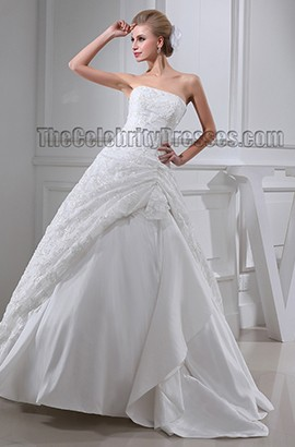 Ball Gown Strapless Lace Floor Length Taffeta Wedding Dresses