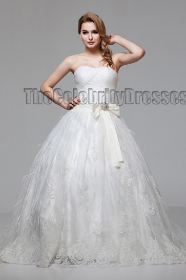Ball Gown Strapless Sweetheart Chapel Train Wedding Dress