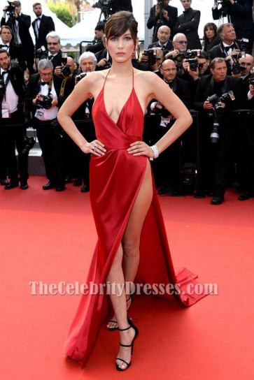 Bella Hadid Sexy Red Evening Dress Cannes 2016 Red Carpet Gown TCD6674