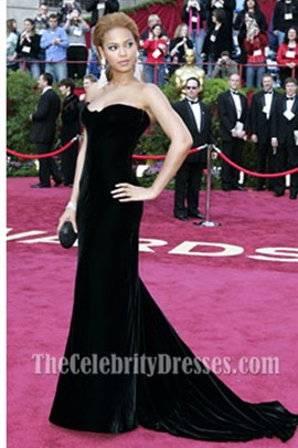 Beyonce Knowles Black Formal Dress Oscar 2005 Red Carpet
