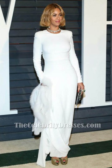 Beyonce White Long Sleeve Evening Dress 2015 Academy Awards Celebrity Dresses TCD6101