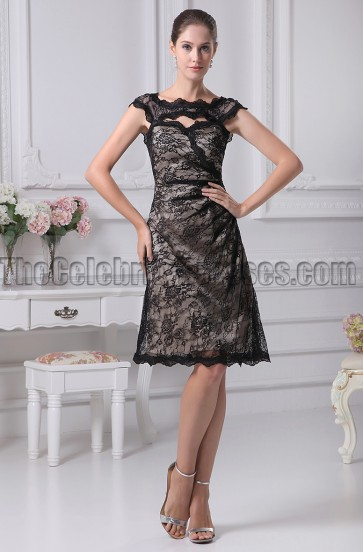 Black Knee Length Lace Cocktail Party Graduation Dresses