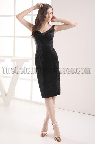 Black Knee Length V-neck Cocktail Graduation Dresses
