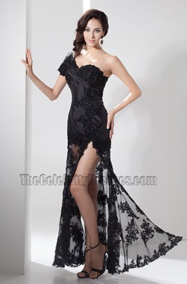 Sexy Black Lace One Shoulder Evening Dress Prom Gown