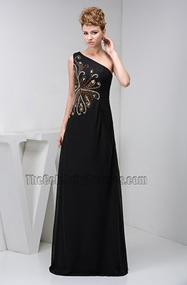 39e959e5a49bd9 Elegant Black One Shoulder Beaded Formal Gown Evening Dresses ...