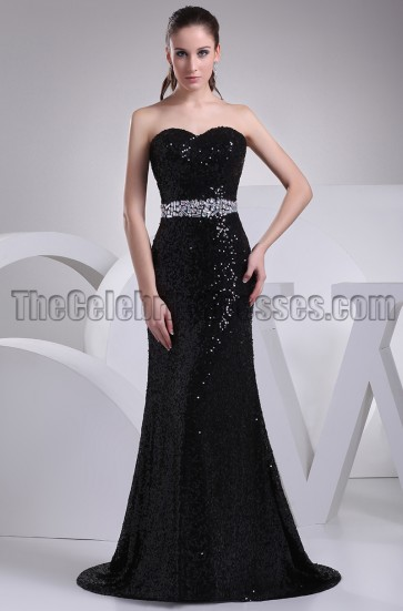 Black Sequined Strapless Formal Prom Dress Evening Gown