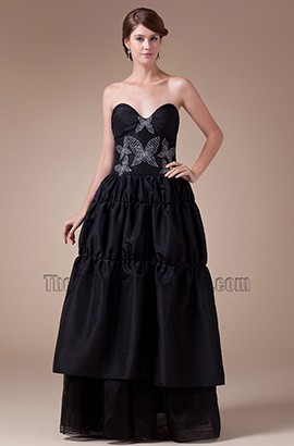 Black Strapless A-Line Full Length Prom Gown Evening Dress
