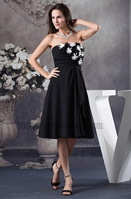 Black Strapless A-Line Knee Length Cocktail Party Graduation Dresse