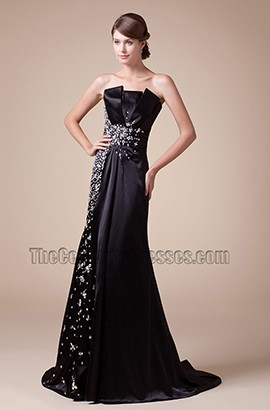 Black Strapless Beaded Formal Gown Prom Evening Dress