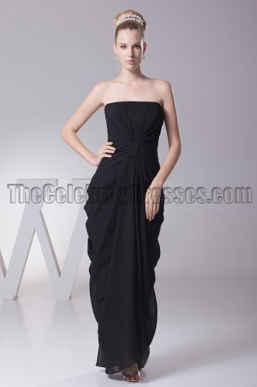 Discount Black Strapless Prom Gown Bridesmaid Evening Dress