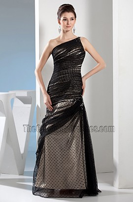 Long Black Tulle One Shoulder Formal Dress Prom Gown