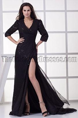 Black V-Neck Formal Gown Prom Evening Dresses