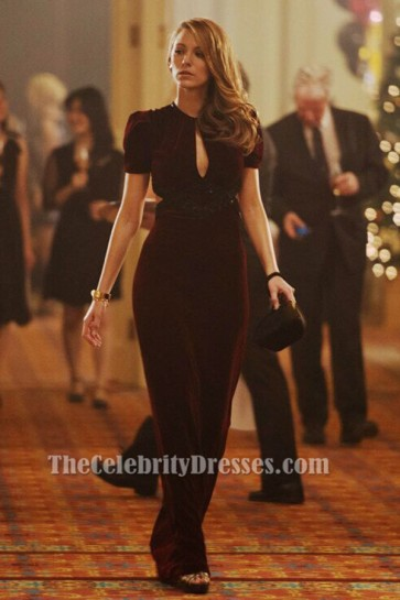 Blake Lively Burgundy Evening Dress The Age of Adaline Fashion TCD6300