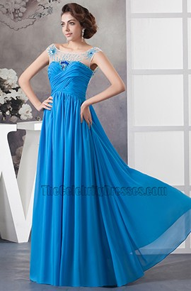 Glamorous Blue Chiffon Backless Prom Dress Evening Gown