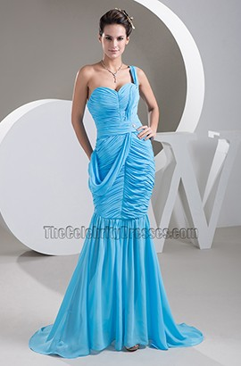 Blue Chiffon Mermaid One Shoulder Formal Dress Prom Gown