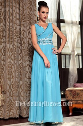 Chic Blue Chiffon V-Neck Prom Gown Evening Formal Dresses