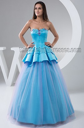 Blue Strapless A-Line Formal Dress Prom Evening Gowns