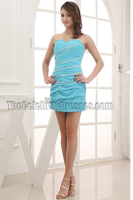 Blue Strapless Mini Party Cocktail Homecoming Dresses