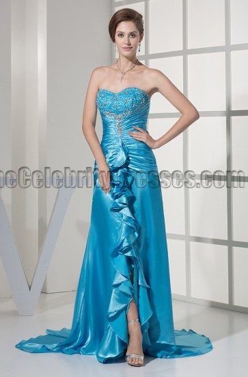 Blue Strapless Sweetheart A-Line Formal Dress Prom Gown