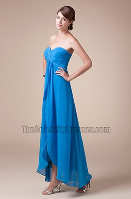 Blue Strapless Sweetheart Prom Gown Bridesmaid Evening Dresses
