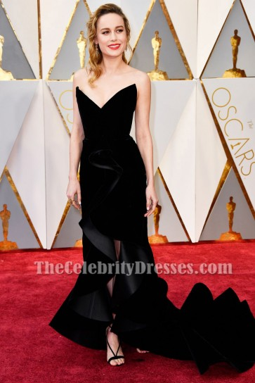 Brie Larson Oscars 2017 Red Carpet Black Formal Gown Celebrity Dresses TCD7172