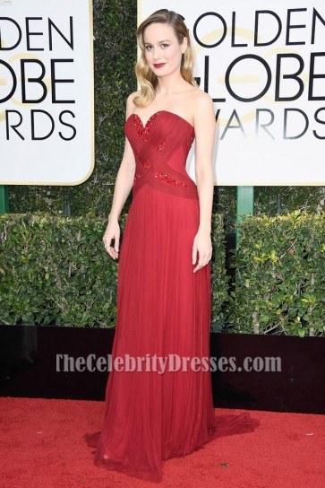 Brie Larson Red Beaded Evening Gown 74th Annual Golden Globe Awards Celebrity Dresses TCD7109