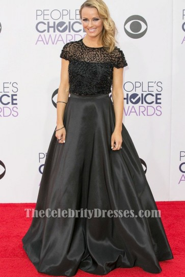 Brooke Anderson Black Beaded Formal Dress People's Choice Awards 2015 TCD6169