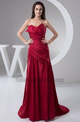 Elegant Burgundy Strapless Formal Dress Prom Gown