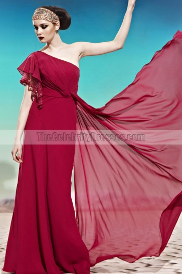 Burgundy One Shoulder Floor Length Formal Dress Prom Gown