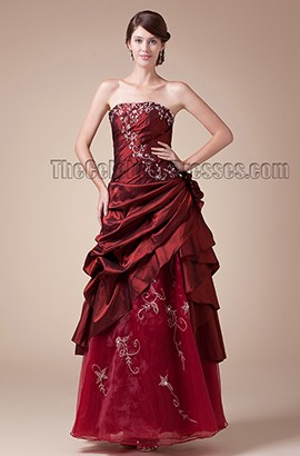 Burgundy Strapless Floor Length Embroidery Formal Evening Dresses