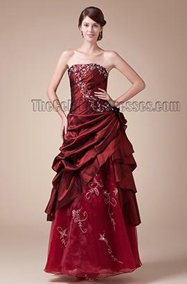 Burgundy Strapless Floor Length Embroidery Formal Evening Dresses