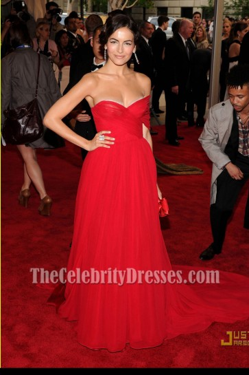 Camilla Belle Strapless Red Chiffon Prom Dress 2010 MET Ball