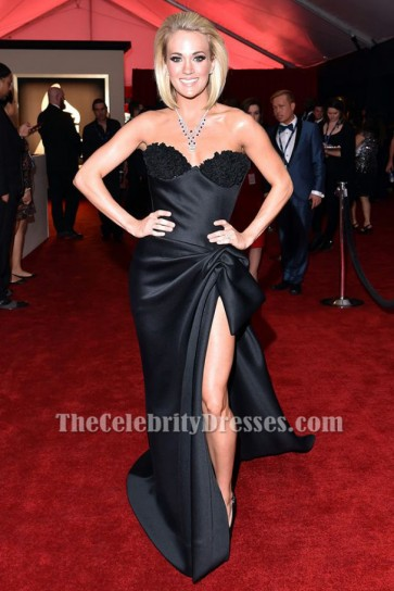 Carrie Underwood Black Strapless Formal Dress Grammy 2016 Red Carpet Gown TCD6542