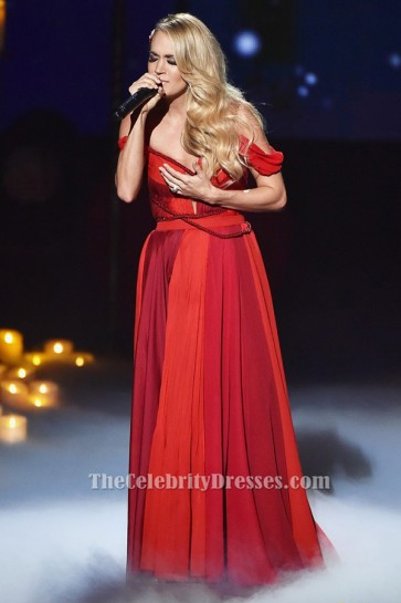 Carrie Underwood Red Chiffon Evening Dress AMAs 2015 Performance TCD6423