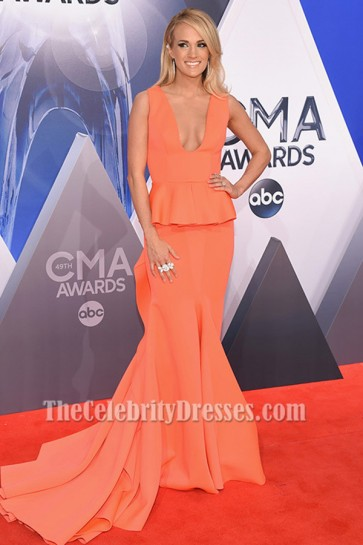 Carrie Underwood Mermaid Formal Dress CMA Awards 2015 Red Carpet TCD6386