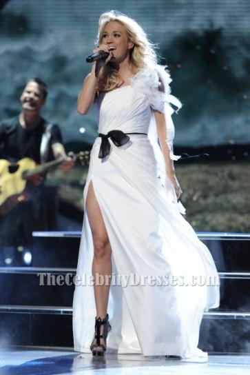 Carrie Underwood White One Shoulder Evening Dress FOX's American Idol Season 11 TCD6243