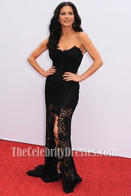 "Catherine Zeta-Jones Black Lace Prom Dress""Red 2″ Premiere Red Carpet"