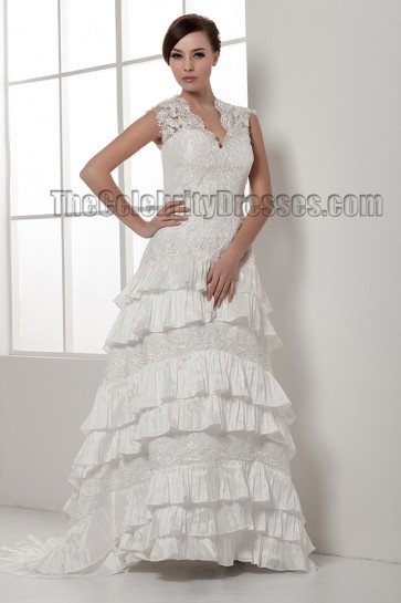 Celebrity Inpsired A-Line Sweep/Brush Train Bridal Gown Wedding Dress
