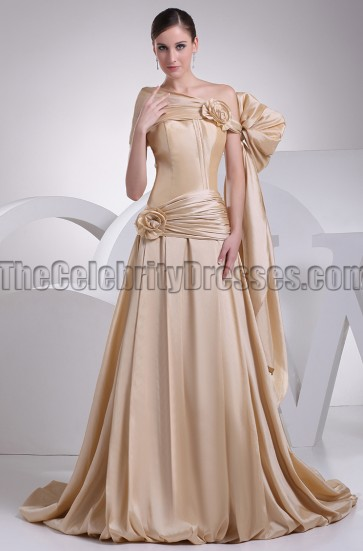 Celebrity Inspired A-Line Off-the-Shoulder Formal Dress Prom Gown