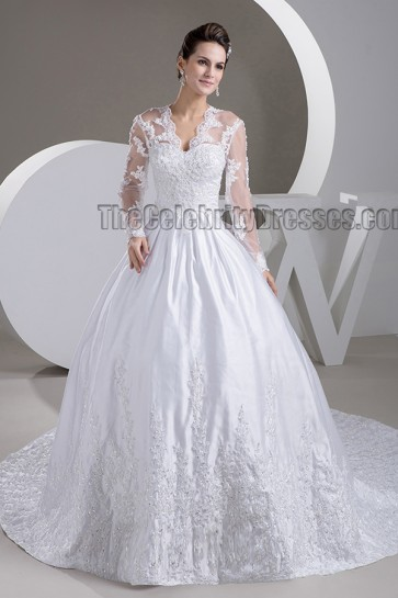 Celebrity Inspired A-Line Long Sleeve V-Neck Chapel Train Wedding Dresses