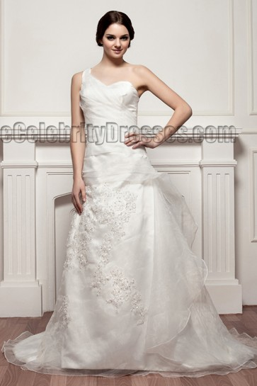 Celebrity Inspired A-Line One Shoulder Chapel Train Wedding Dresses