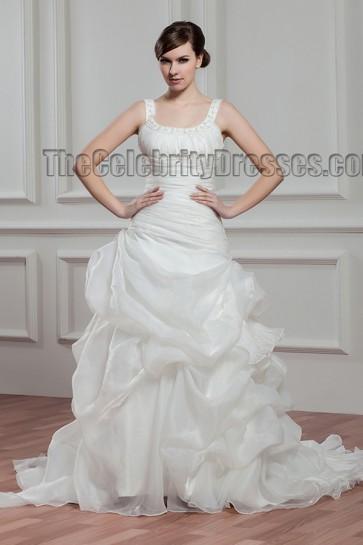 Celebrity Inspired A-Line Sweep/Brush Train Wedding Dresses