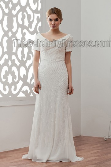 Celebrity Inspired Beaded Sweep/Brush Train Wedding Dress Bridal Gown
