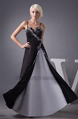 Celebrity Inspired Black Spaghetti Formal Dress Prom Gown