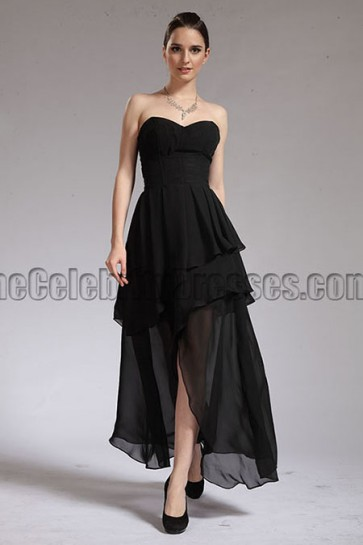 Ankle length Black Strapless Prom Dress Evening Gown
