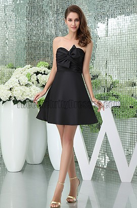 Celebrity Inspired Black Strapless Sweetheart Homecoming Party Dresses