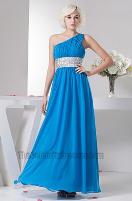 Celebrity Inspired Blue One Shoulder Chiffon Prom Dresses