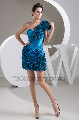Celebrity Inspired Blue One Shoulder Party Homecoming Dresses
